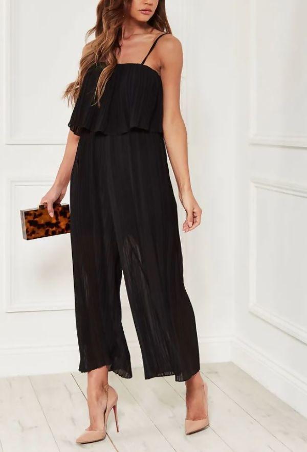 Black Pleated Cami Frill Jumpsuit