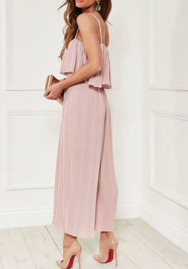 Pleated Cami Frill Jumpsuit