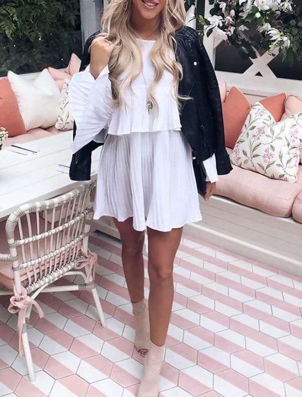 Brown Pleated Long Sleeve Smock Dress