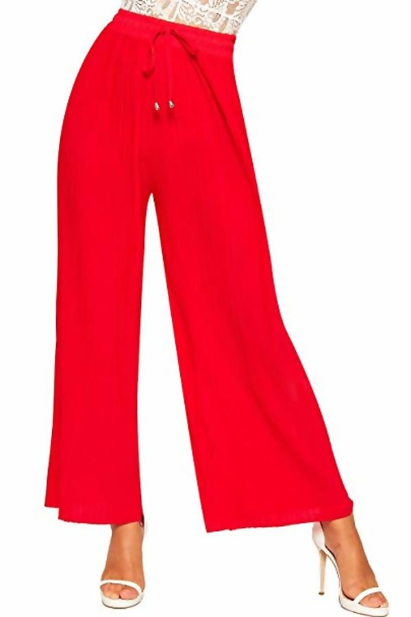Pleated High Waist Wide Leg Trouser