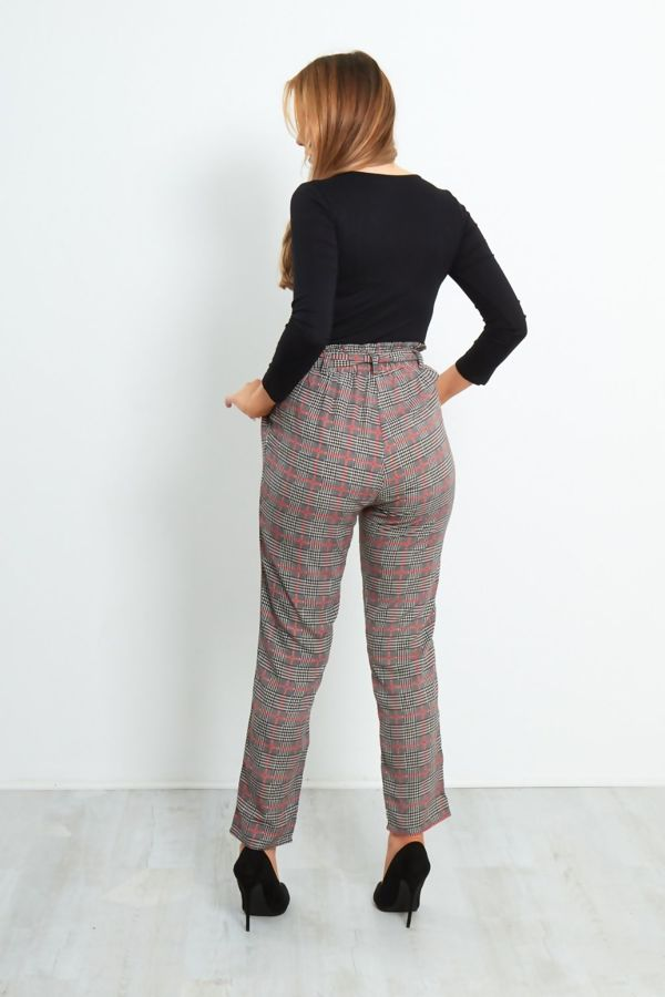 Plum With Blue Stripes Frill Tie Trouser