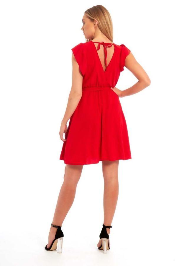 Plunge Self Tie Mini Dress