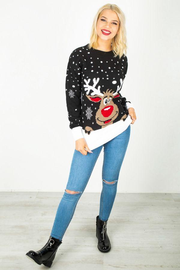Black Plus Size Reindeer Christmas Jumper