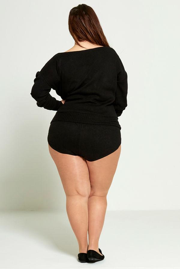 Plus Size Black Slash Knit Jumper And Short Set