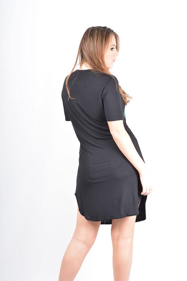 Plus Size Black Tropical Girl Printed T-Shirt Dress