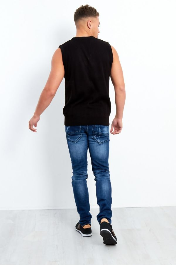 Plus Size Black V-Neck Sleeveless Knitted Jumper