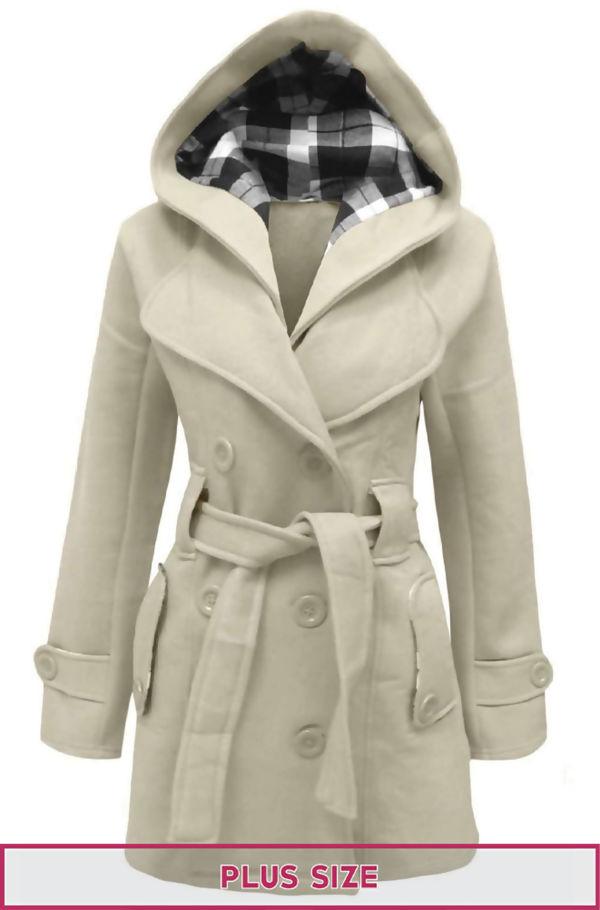 Plus Size Cream Double Breast Coat