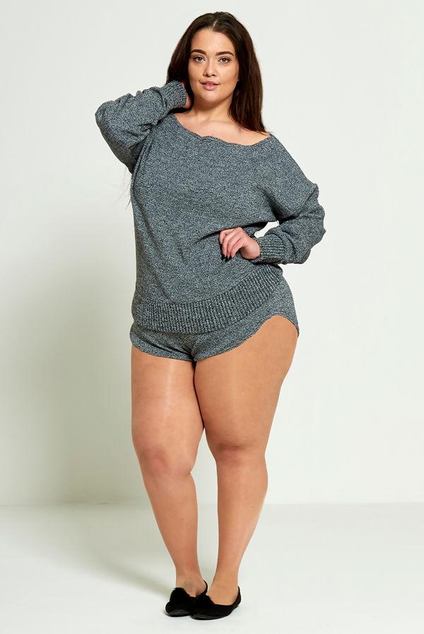 Plus Size Dark Grey Marl Knit Jumper And Short Set