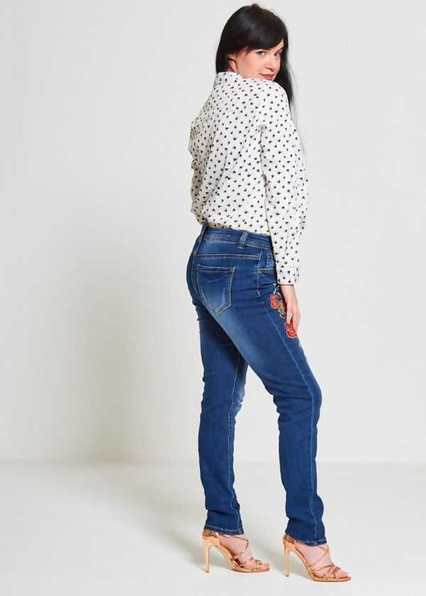 Plus Size Embroidered Denim Jeans