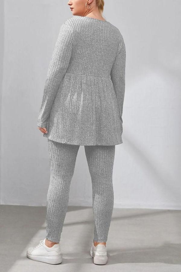 Plus Size Grey Ribbed Peplum Top & Leggings Set