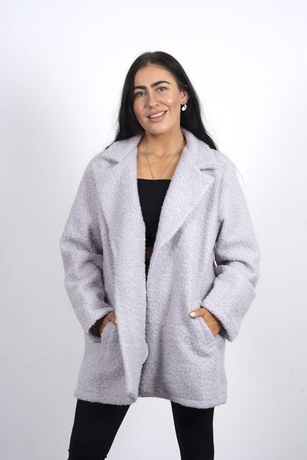 Plus Size Grey Textured Longline Coat