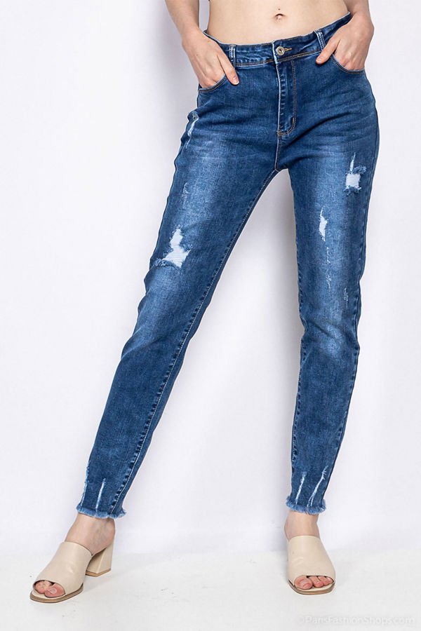 Plus Size Light Distressed Hem Jeans