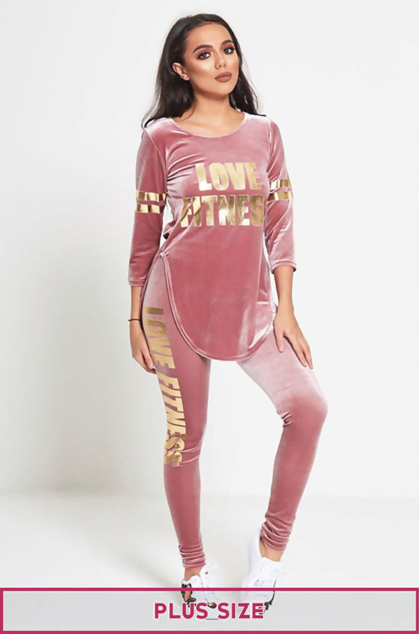 Plus Size Nude Love Fitness Suede Tracksuit