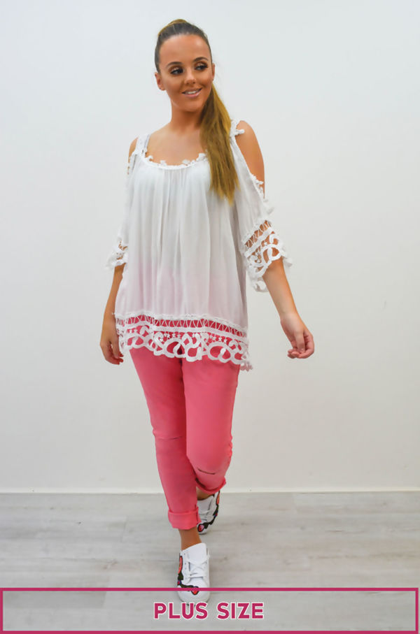 Plus Size Pink Ripped Knee Skinny Jeans