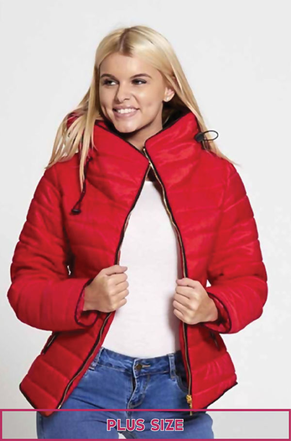 Plus Size Red Quilted Padded Bubble Puffer Fur Collar Jacket