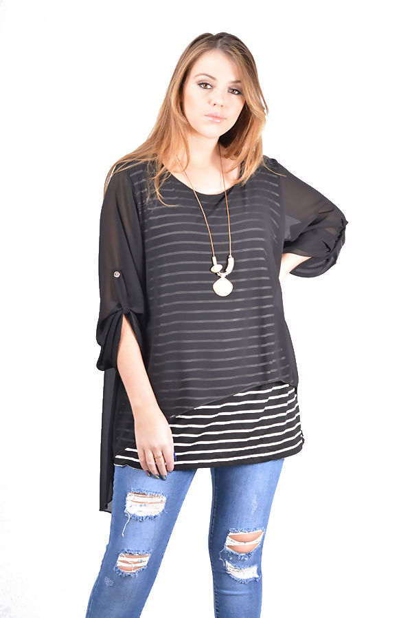 Plus Size Sheer Overlay Striped Necklace Top