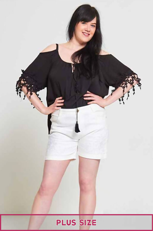 Plus Size White Diamante Embroidered Shorts