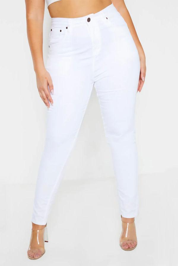 Plus Size White Five Pocket Jeans