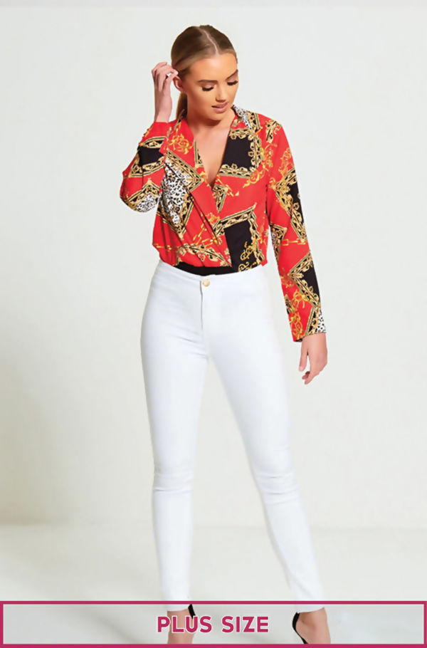 Plus Size White High Waisted Skinny Jeans