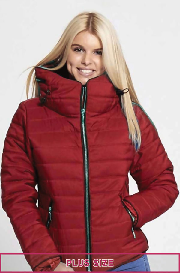 Plus Size Wine Quilted Padded Bubble Puffer Fur Collar Jacket