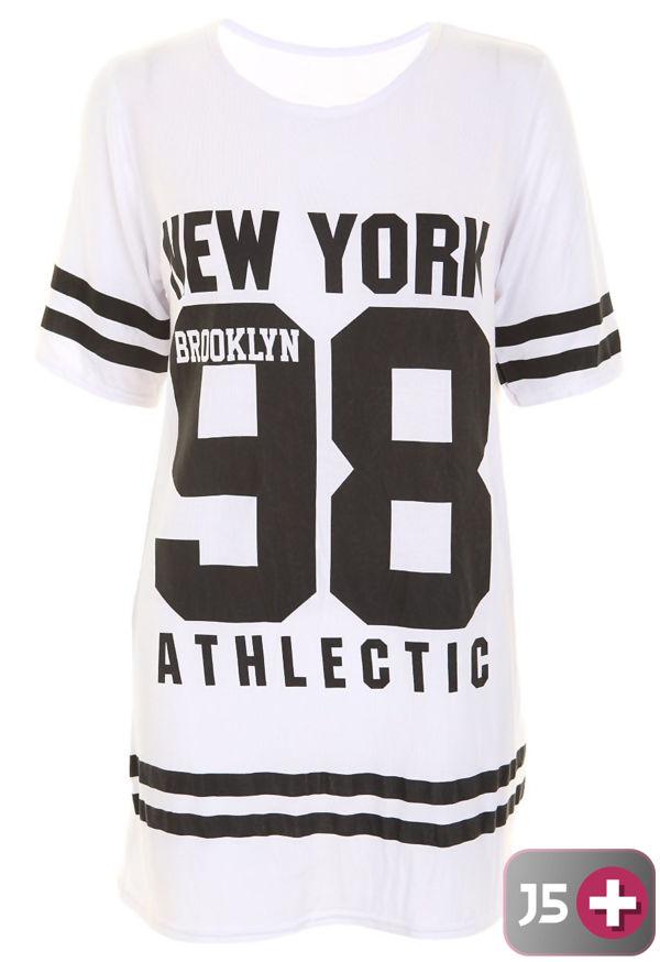 Plus Size Grey New York 98 Oversize T-Shirt