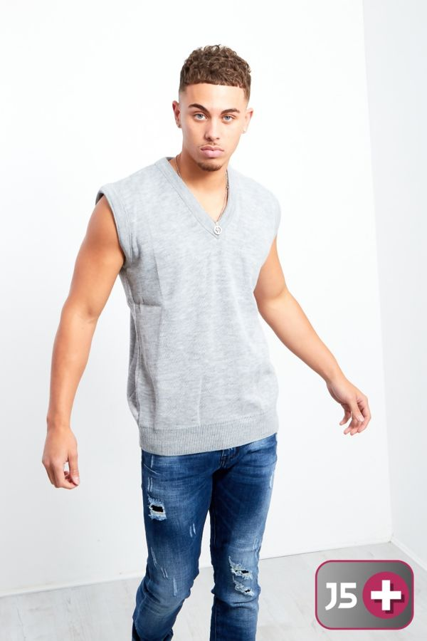 Plus Size Grey V-Neck Sleeveless Knitted Jumper