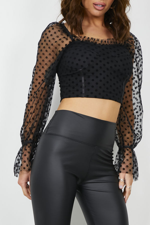 Polka Dobby Mesh Crop Top
