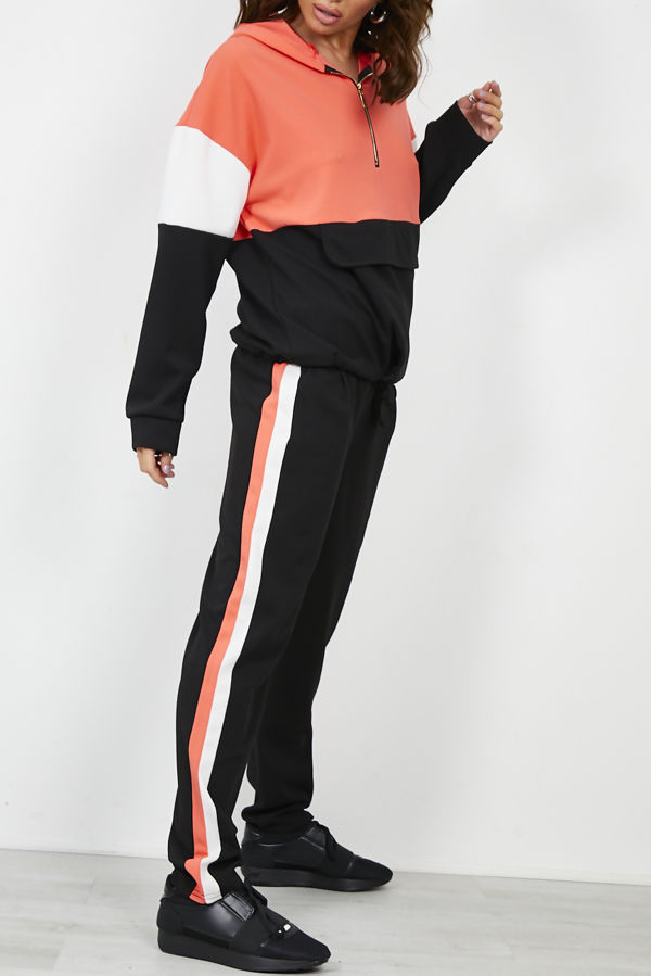 Pouch Pocket Colour Block Tracksuit