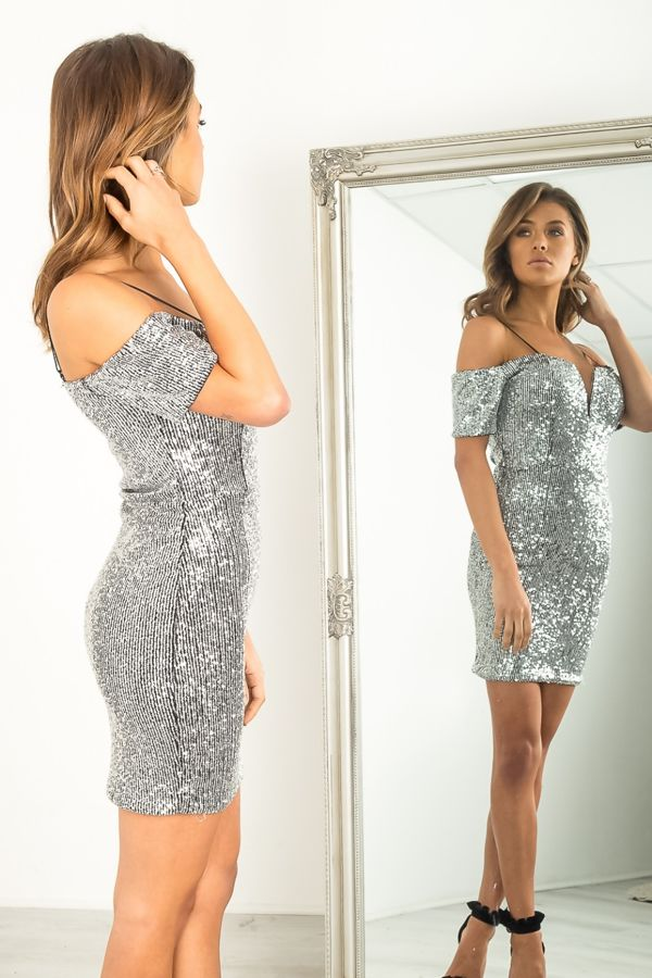 Premium Sequin Bardot Dress