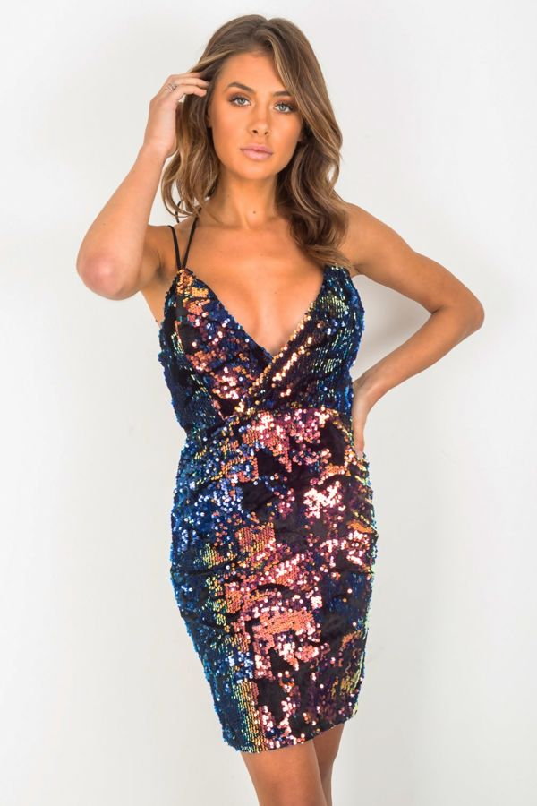 Premium Sequin Cross Over Dress