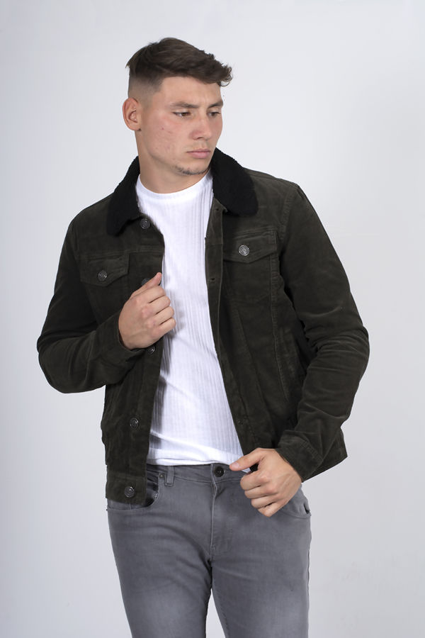 Contrast Borg Collar Detail Cord Jacket