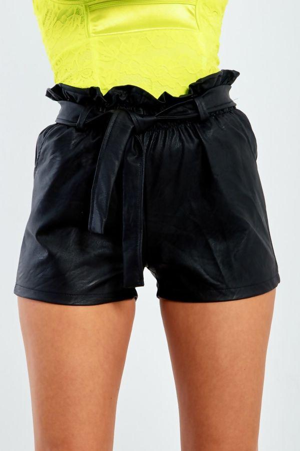 PU Leather High Waist Ruffle Belted Hem Shorts