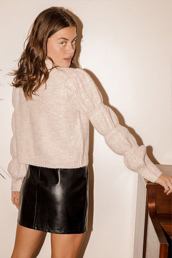 Puff Sleeve Cropped Mock Neck Jumper
