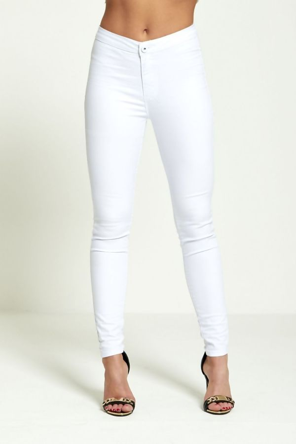 Pure White High Rise Tube Jeans