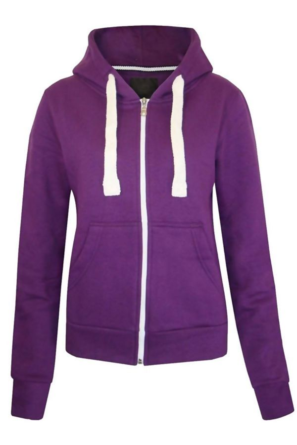 Purple Basic Hooded Jacket