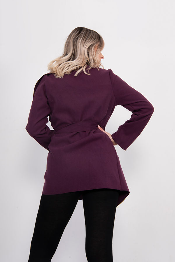 Purple Cropped Waterfall Coat