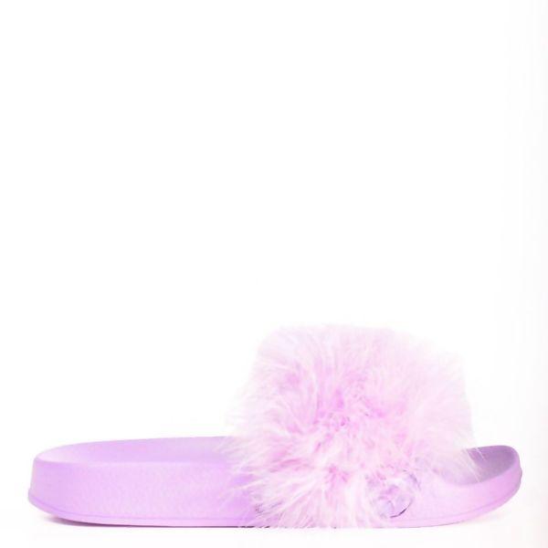 Purple Faux Fur Fluffy Flat Sliders