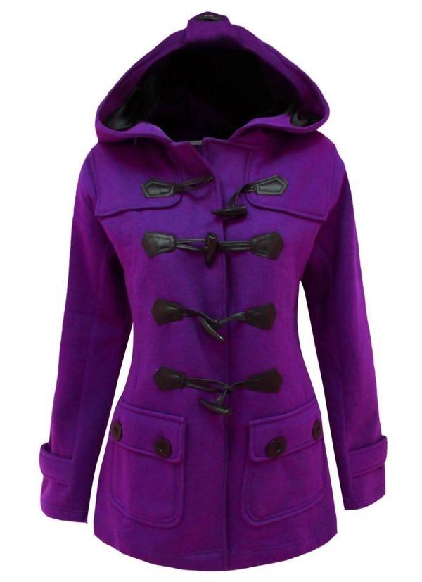 Purple Fleece Hooded Toggle Jacket