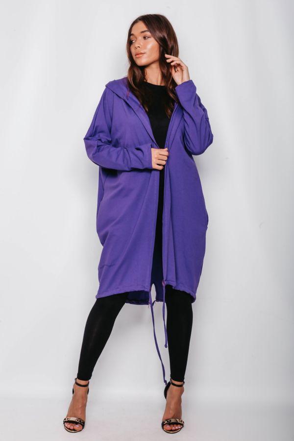 Purple Sequin Angel Wing Hooded Cardigan