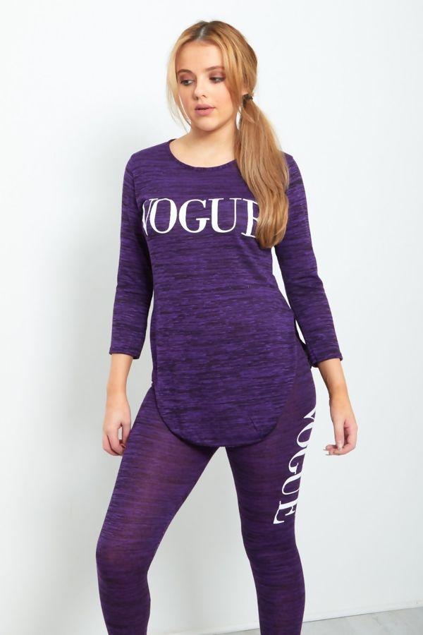 Purple Vogue Slogan Tracksuit