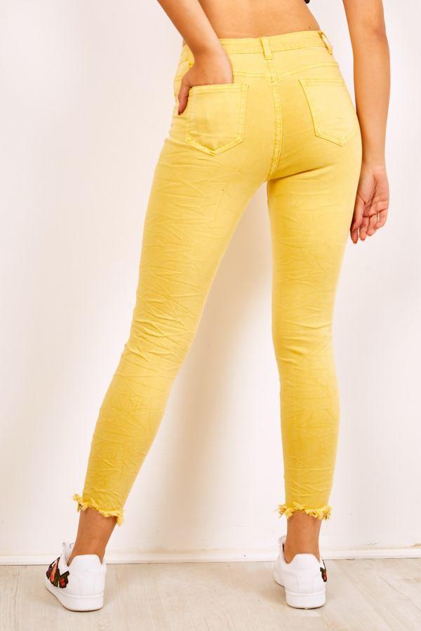 Pastel Yellow Frayed Hem Distressed Denim Jeans