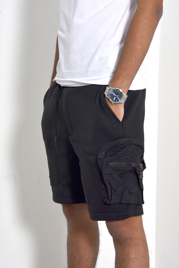 Black Patch Pockets Drawcords Shorts