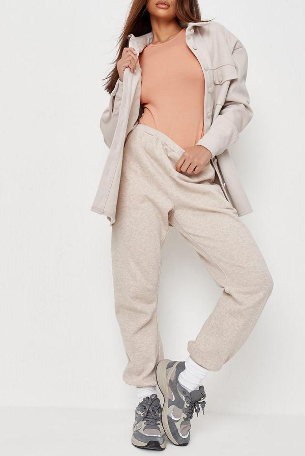 Peach Crew Neck Long Sleeve Bodysuit