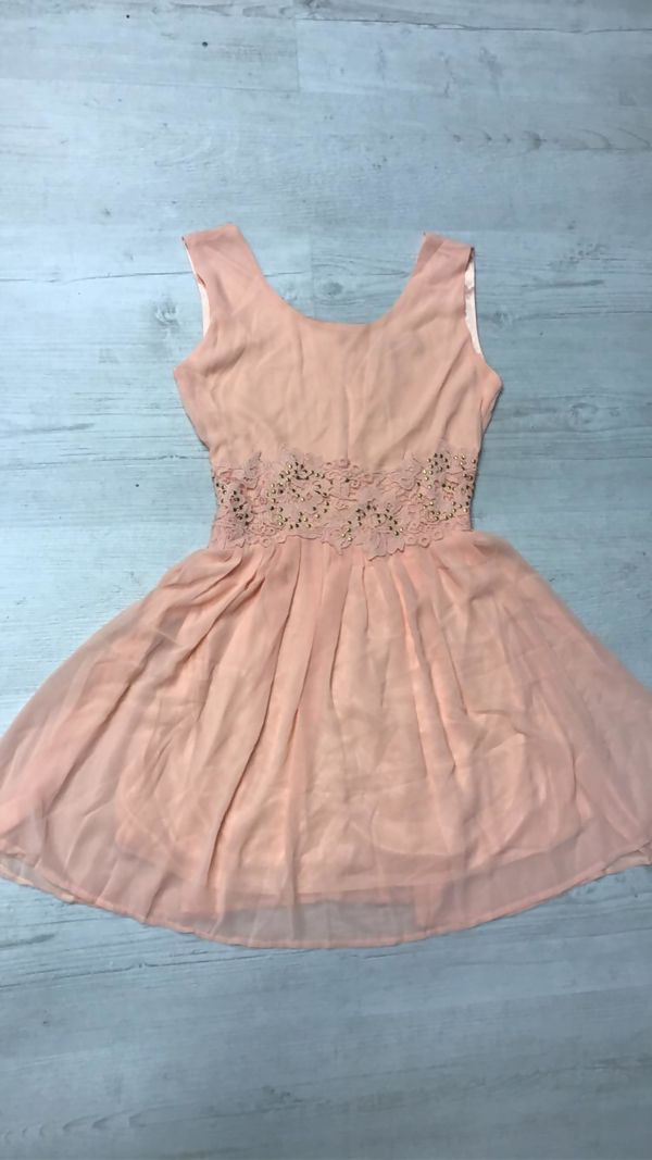 Peach Floral Embroidered Waistline Skater Dress