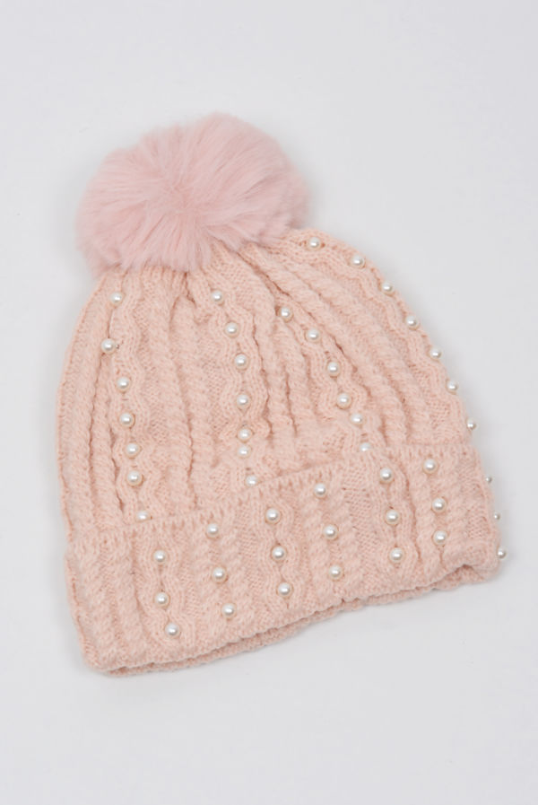 Rose Pearl Embellished Knitted Beanie Hat