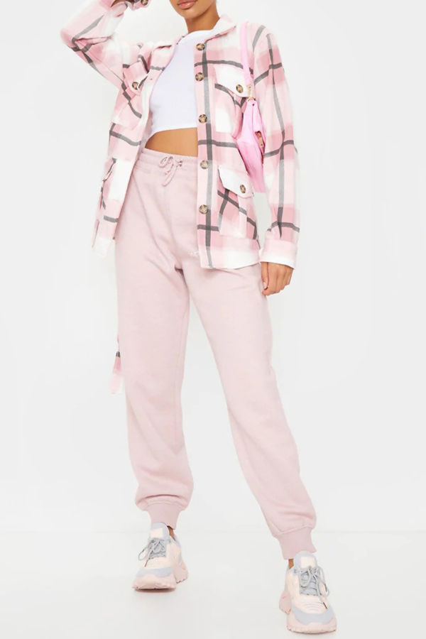 Pink Checked Belted Dipped Hem Shacket