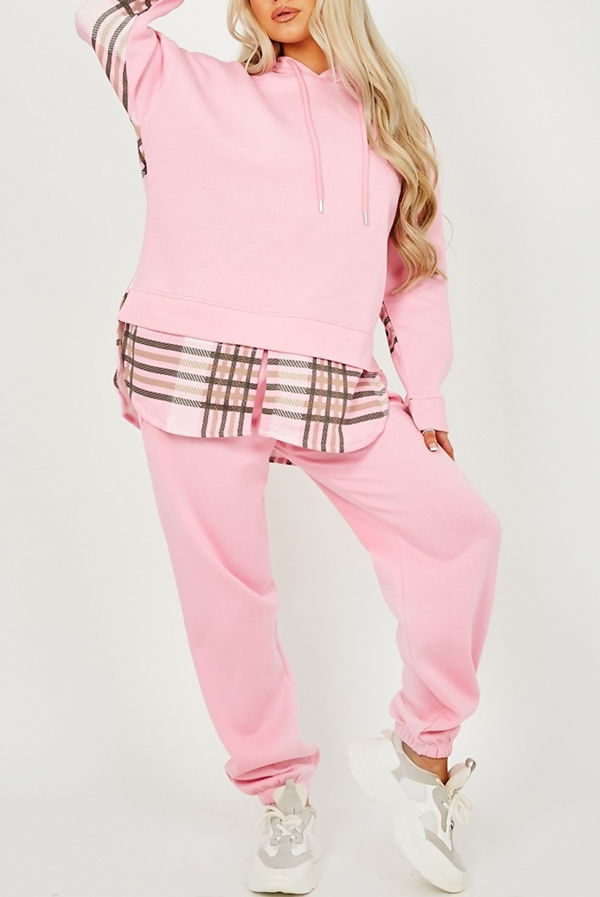 Pink Checked Fleece Hoodie And Jogger Lounge Set