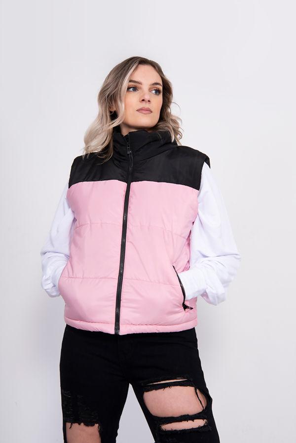 Pink Colourblock Puffer Gilet