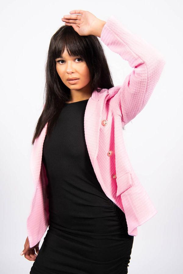 Pink Double Breasted Tweed Blazer