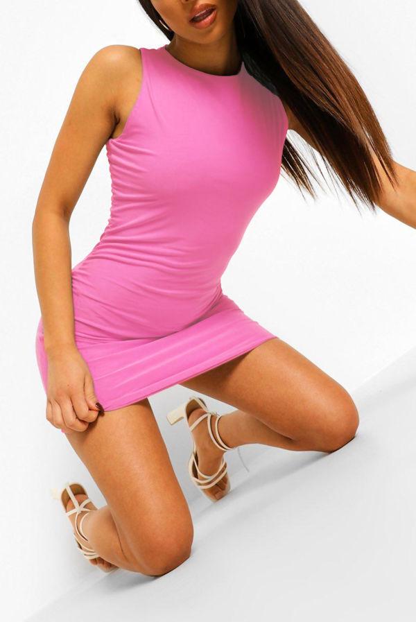 Pink Double Slinky Racer Neck Mini Dress